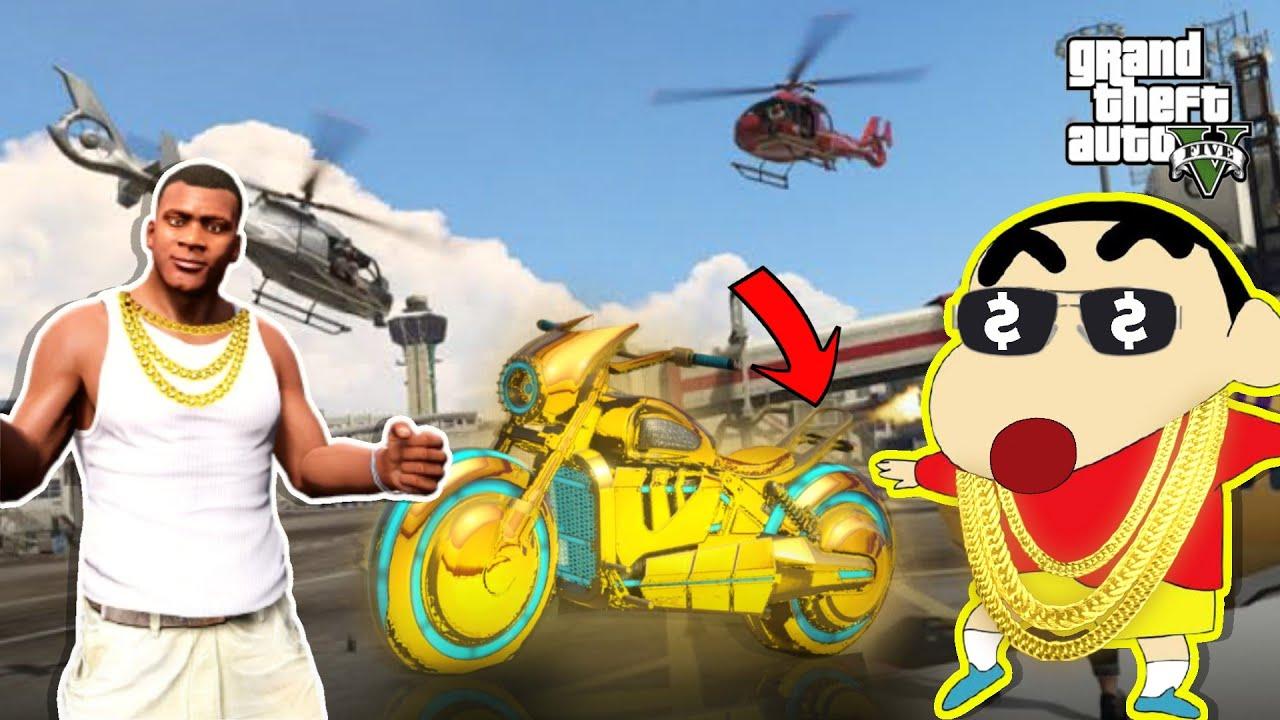 GTA-5 'SHINCHAN' And 'FRANKLIN' Collecting Golden Billionaire Bike In GTA 5(GTA 5 MODS)