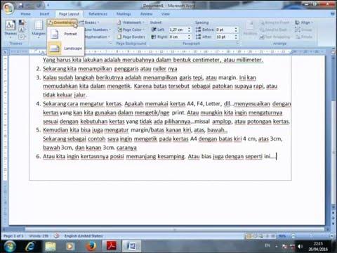Pengaturan dasar mengetik microsoft word dan print dokumen