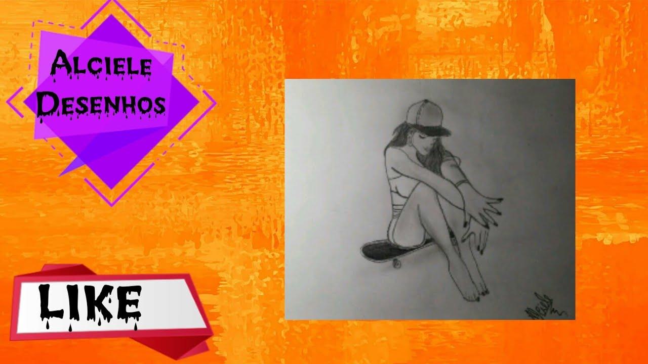 Como Desenha Garota Tumblr Sentada No Skate Youtube