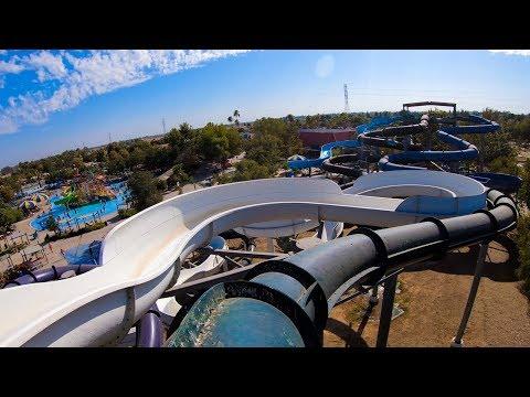 Hawaiian Adventures Green Slide - Island Water Park - Fresno, CA