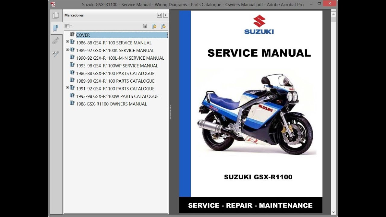 Suzuki Gsx R1100 Service Manual Wiring Diagrams Parts Catalogue Owners Manual Youtube