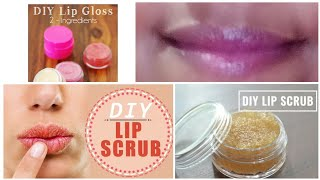 #DIY Lip Gloss and Lip scrub | Lip care routine to get baby soft pink lips naturally 💋