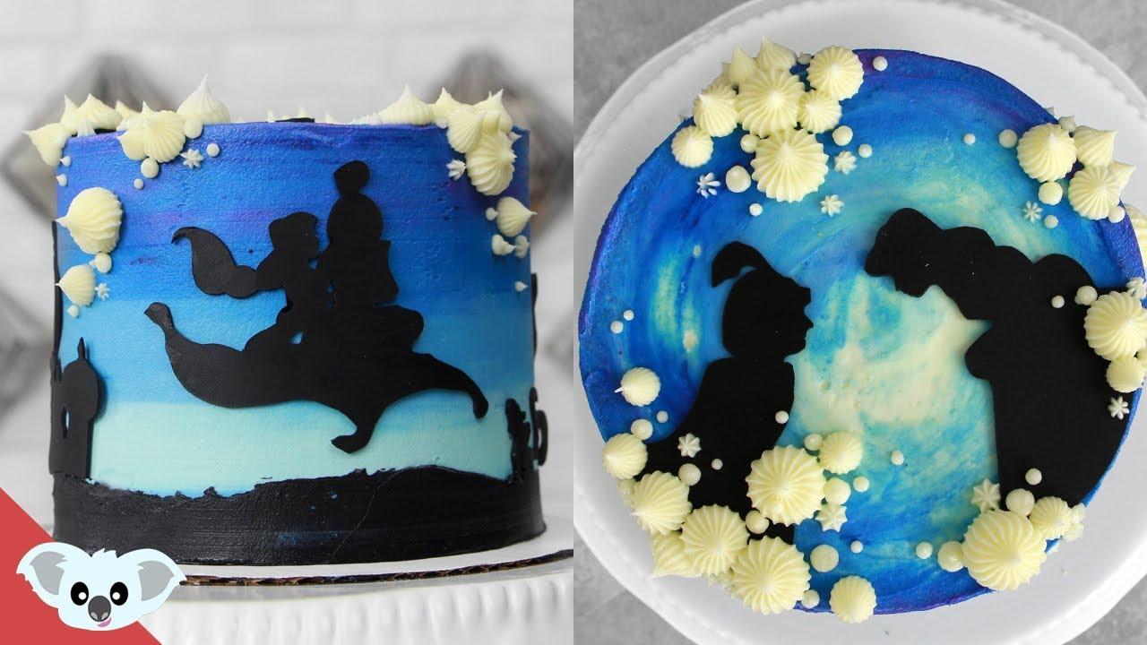 Aladdin Silhouette Cake Disney Party Ideas Diy How To Youtube