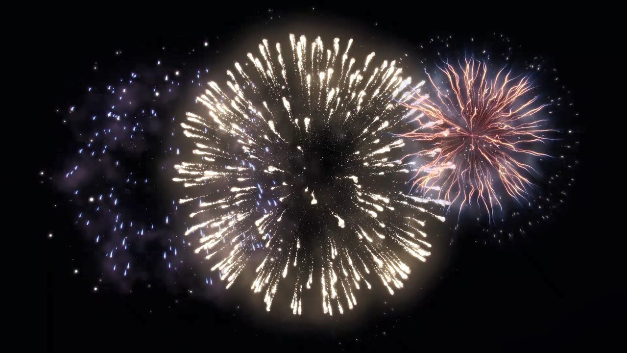 Multiple fireworks stock footage video (100% royalty-free.