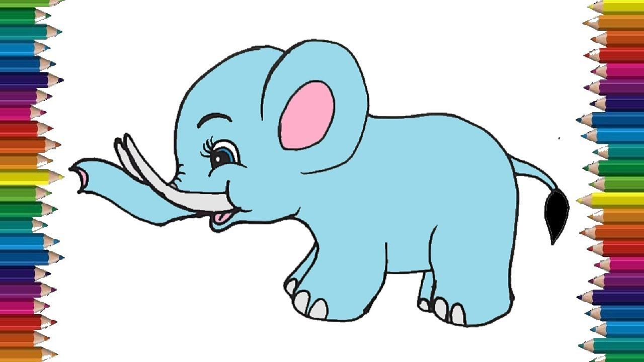 How To Draw A Baby Elephant Step By Step Cute Elephant Drawing Easy