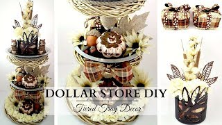 Dollar Store DIY's ~ Fall Tiered Tray ~ NEUTRAL Fall Home Decor