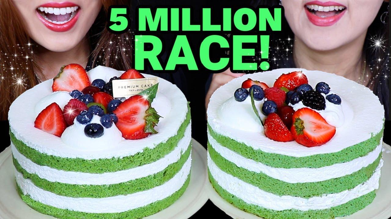 ASMR 5 MILLION GREEN TEA CAKE RACE EATING COMPETITION! 케이크 먹방 केक ケーキ BIG BITES MUKBANG EATING SHOW