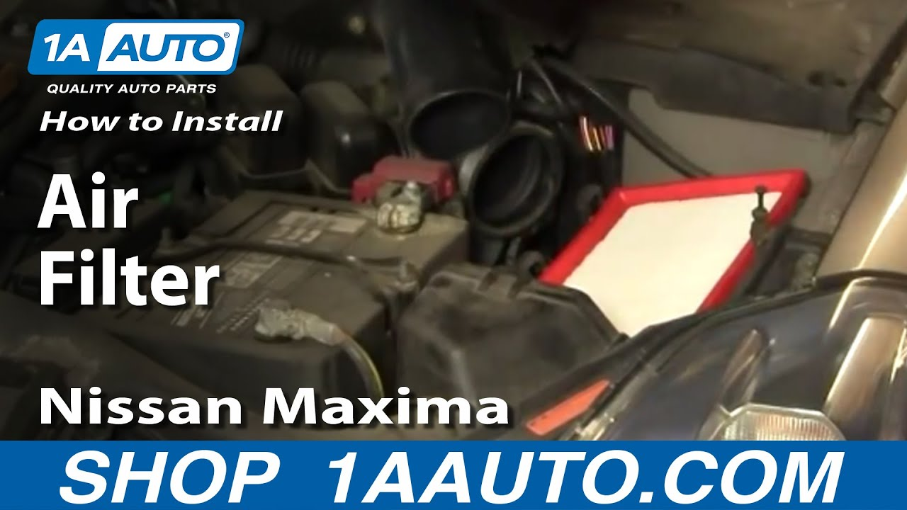 how to install replace service air filter 04 08 nissan maxima 1aauto com youtube [ 1920 x 1080 Pixel ]