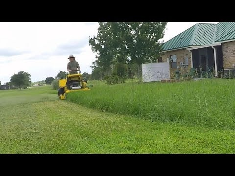 Lawn care vlog #45 Tall thick field grass mowing