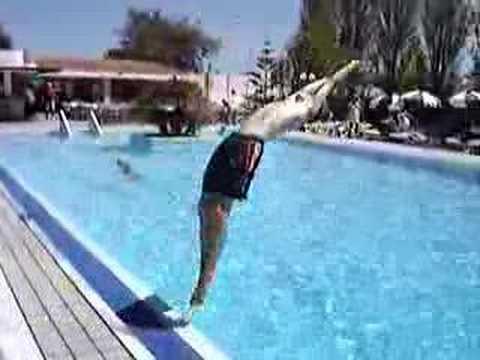 Backwards Dive Into Pool