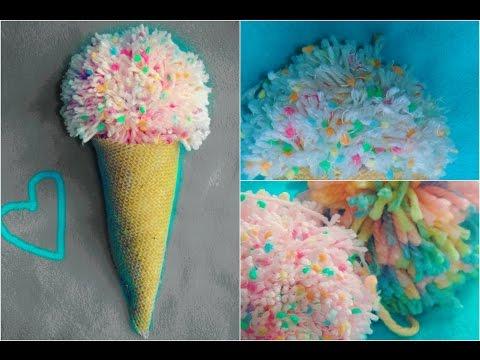 DIY Pom Pom Ice Cream Cone