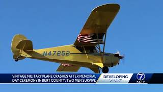 Vintage military plane crashes after Memorial Day ceremony in Burt County; 2 men survive