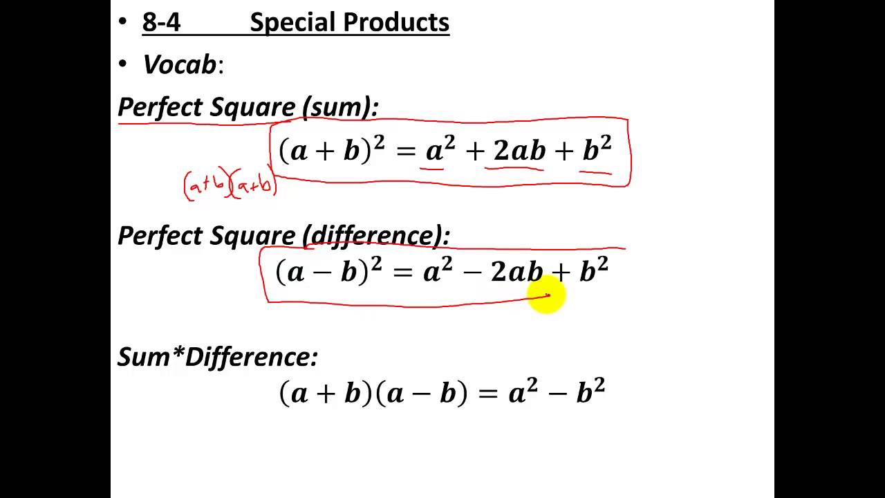 Glencoe Algebra 1 - Special Products - YouTube