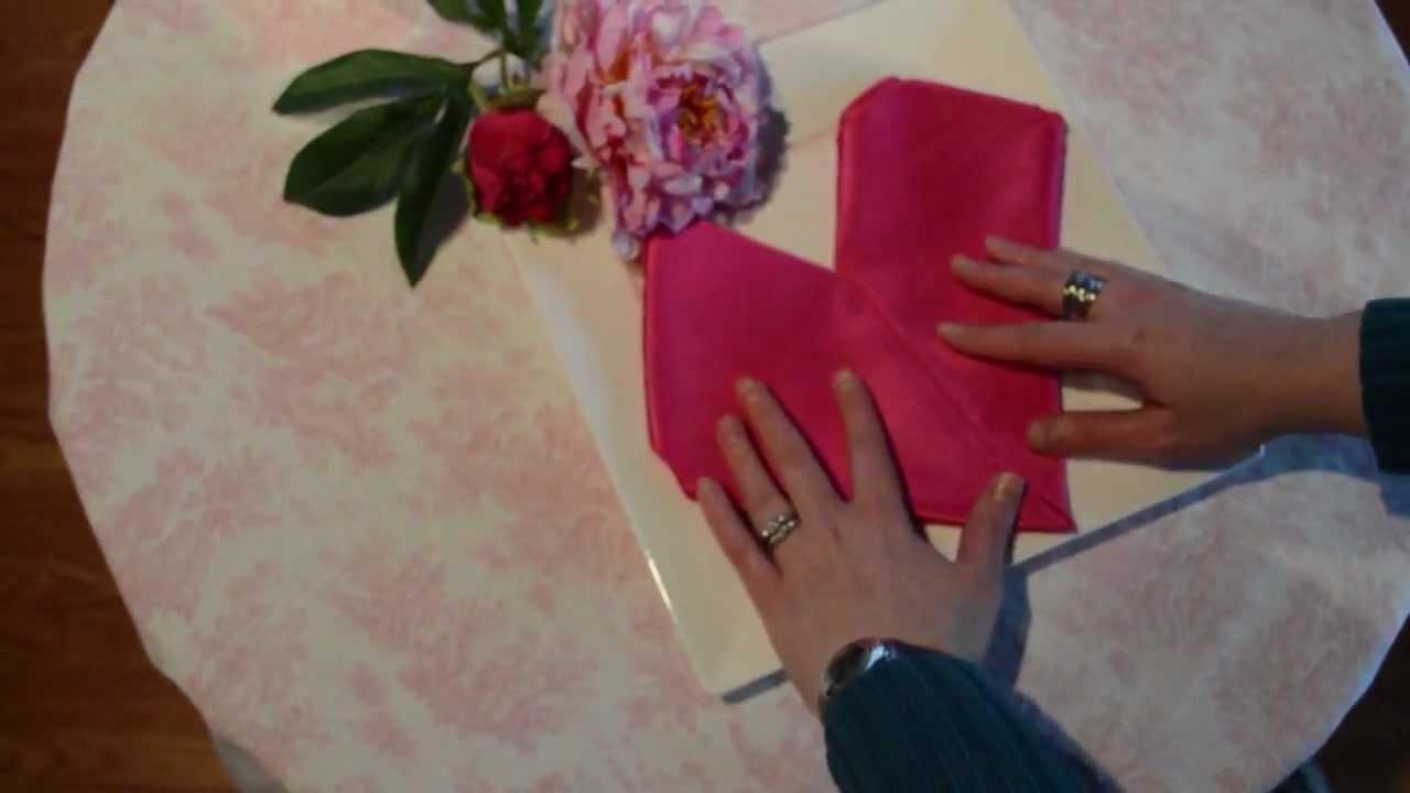 how to fold a cloth napkin into a heart