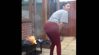 Girl farts on fire