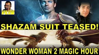 SHAZAM Suit Teased!  WONDER WOMAN 2 Magic Hour!  An app easily removes mustache in JUSTICE LEAGUE!