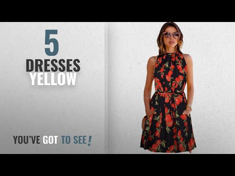 Top 10 Dresses Yellow [2018]: Shivalika Tex Women's Western Wear Party Wear Skater Dress(AW-CRUZE)
