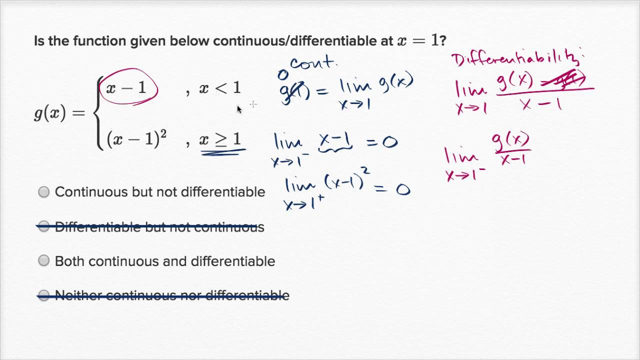Differentiability at a point: algebraic (function isn't