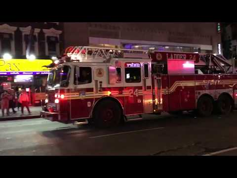 FDNY LADDER 24 RESPONDING ON 6TH AVENUE IN THE MIDTOWN AREA OF MANHATTAN IN NEW YORK CITY.