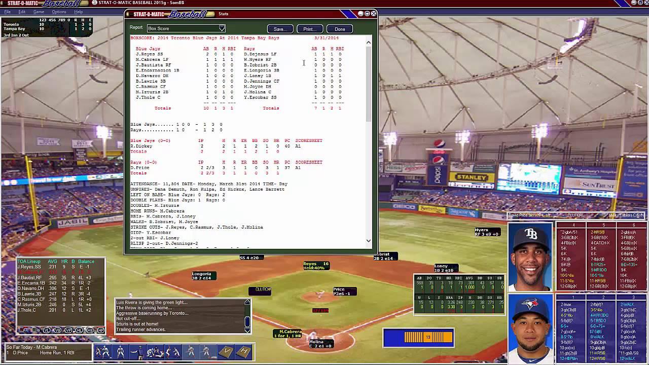 Strat O Matic Baseball 2015
