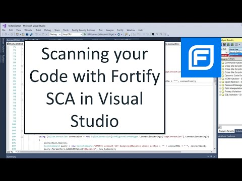 Scanning your Code with Fortify SCA in Visual Studio (2019)