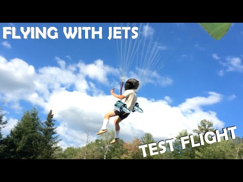 Flying with Jet Engines! - TEST FLIGHT!!! (DIY Backpack Jet Aircraft Part 2)