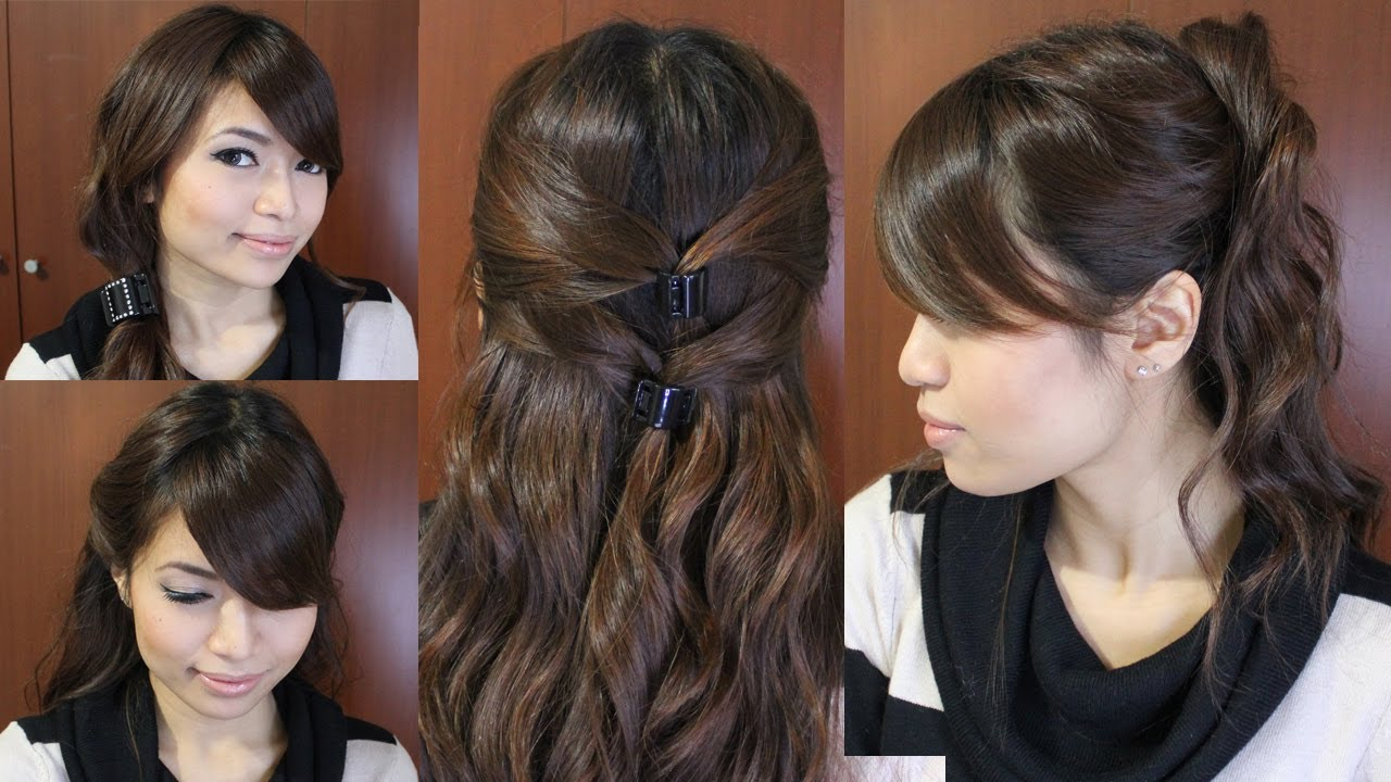 Casual Friday Easy Hairstyles for Medium Long Hair Tutorial - YouTube