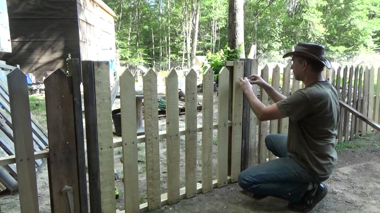 Building My Second Pallet Wood Picket Fence Gate YouTube