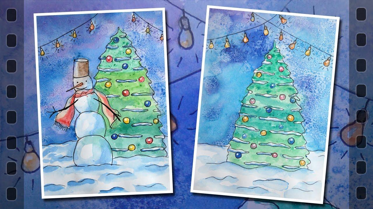 Открытками, кого можно нарисовать в открытке на новый год