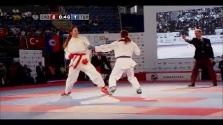 Meltem HOCAOGLU vs Masa MARTINOVIC. FINAL Female Kumite +68kg. European Karate Championships 2015