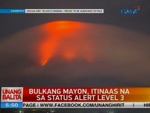 Bulkang Mayon, itinaas na sa status alert level 3
