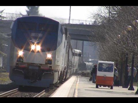 (HD)Amtrak's#55 Coast Starlight (3-11-09) Salem Oregon