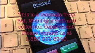 Message from Bell Mobility 855 811 8340