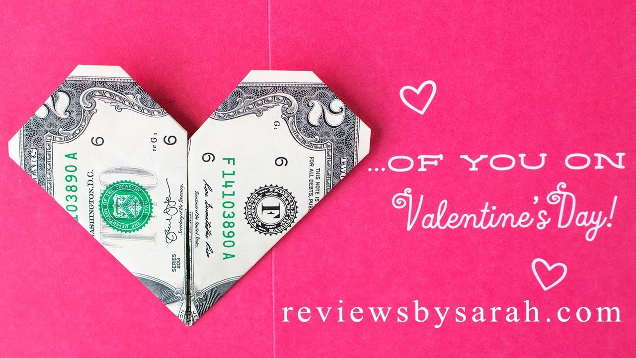 How To Fold And Make A Heart Out Of Money Dollar Bill Origami
