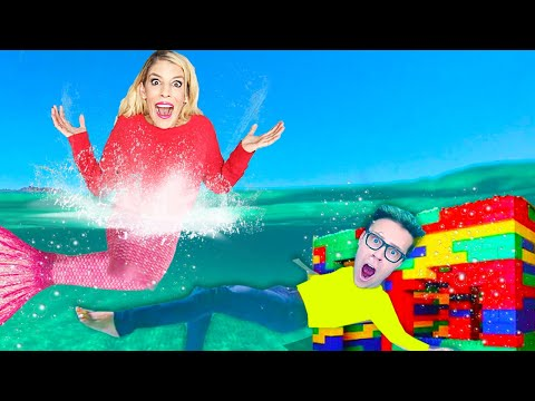 UNDERWATER Date with a Mermaid in a Giant Lego House! Matt and Rebecca