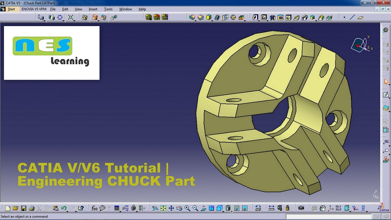 catia v5 v6 tutorial new engineering chuck part design full step by step youtube. Black Bedroom Furniture Sets. Home Design Ideas