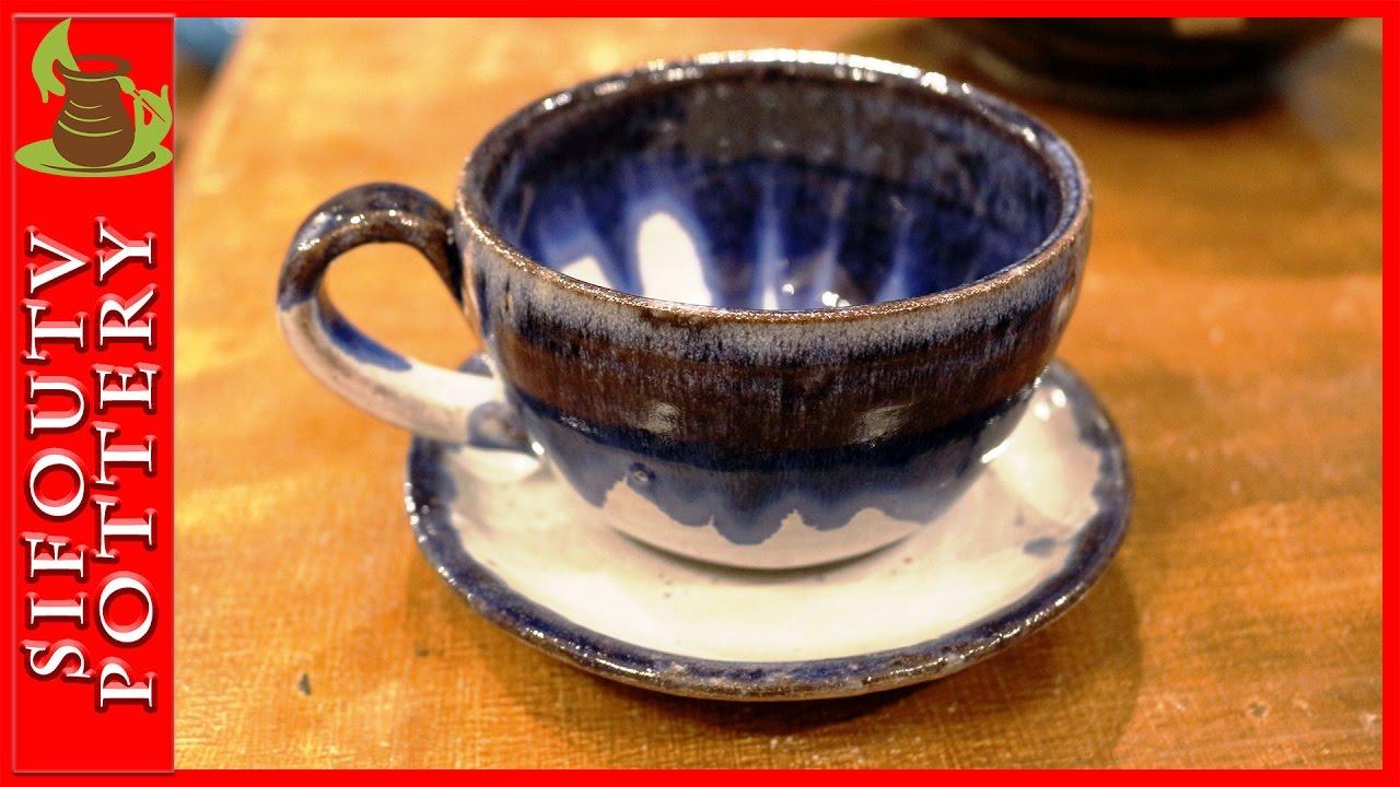 Pottery throwing - How to Make a Pottery Tea Mug with plate #80