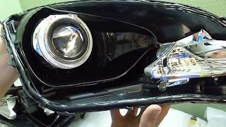 Hyundai Solaris тюнинг фар, установили автомобильную светодиодную би линзу Optima Premium Bi LED Len