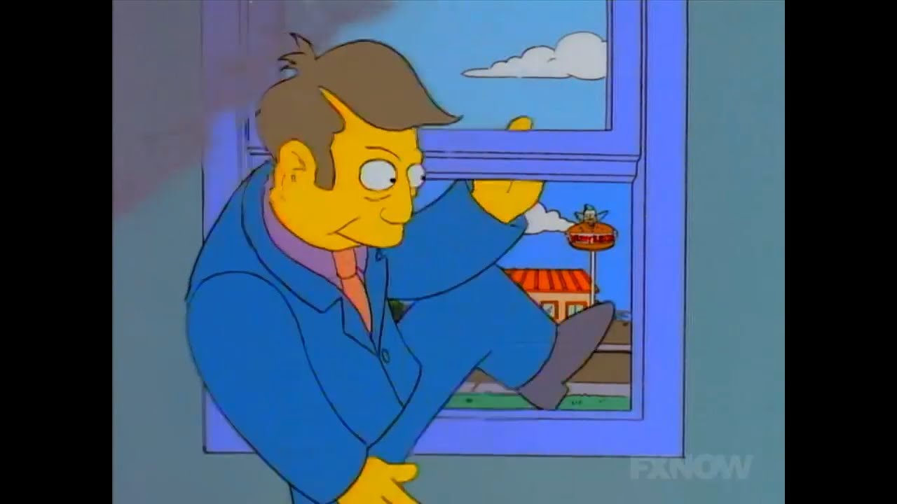 Image result for seymour steamed hams drops out window
