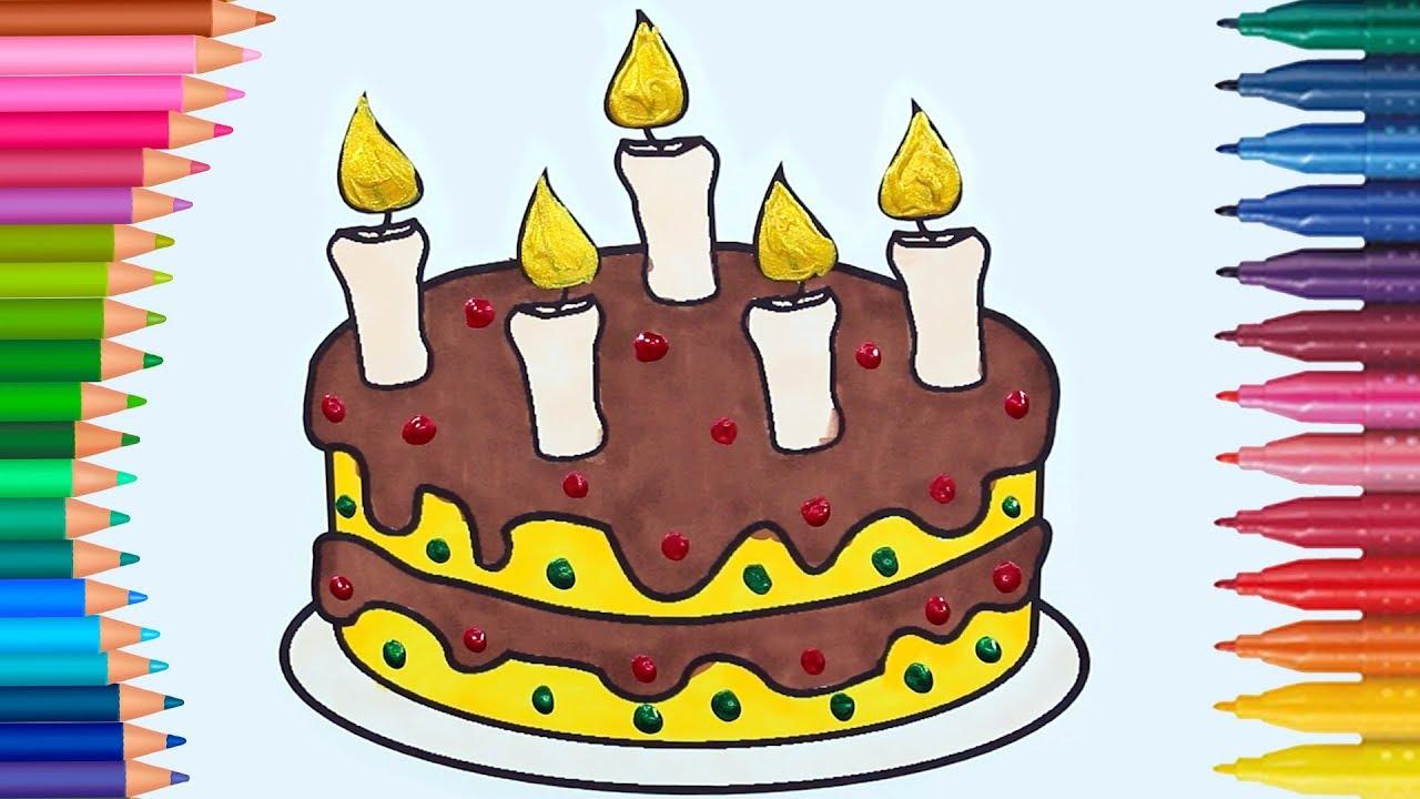 Aprender Colores para Colorear Pastel de Cumpleaños para Colorear ...
