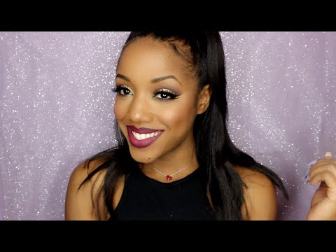 Purple And Gold Glam Full Face Makeup Tutorial | Ellarie