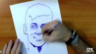 How to draw Neymar with a pen