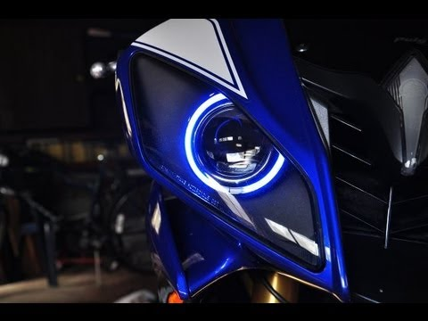 Full Hd Motorcycle Wallpaper Halo Angel Eyes Projecter Mod On 2009 Yamaha R6 Krypton