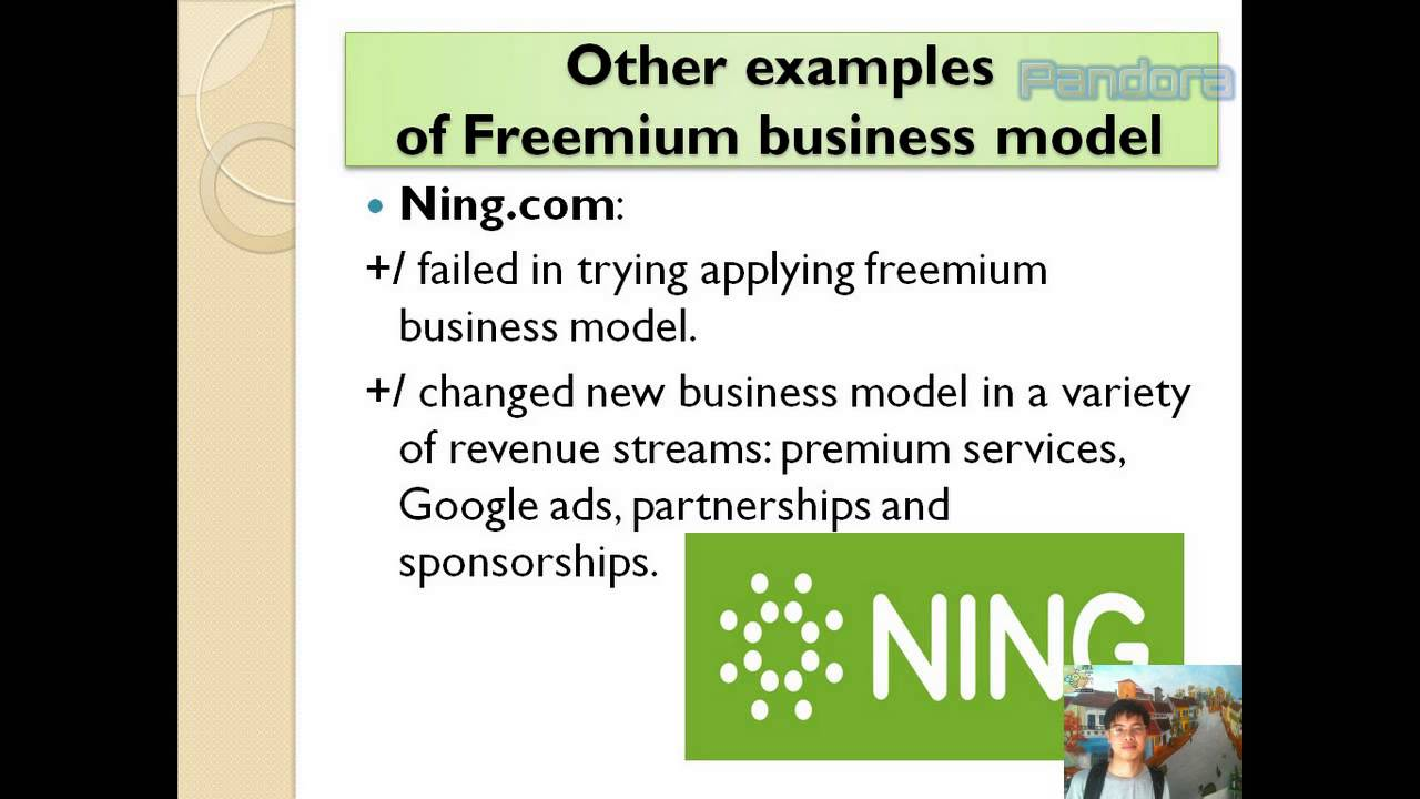 "pandora and the freemium business model Pandora is an example of the ""freemium"" business revenue model the model is based on giving away some services for free to 99% of the customers, and relying on the other 1% of the customers to pay for premium versions of the same service."