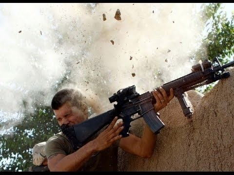 U.S. Marines in Combat with Insurgents - Heavy Firefight in