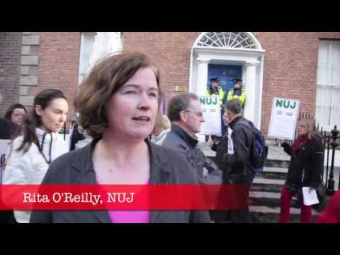 NUJ protest at Greek Embassy in solidarity with ERT media workers, Dublin, Ireland 13th June 2013