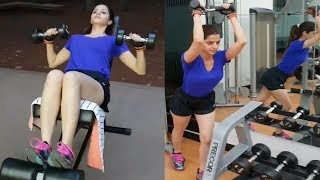 Top Heroine Vedhika Beautiful special Morning workout in gym Fitness | Cinema Politics