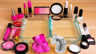 Mixing Makeup Eyeshadow Into Slime! Pink vs White Special Series #23 Satisfying Slime Video