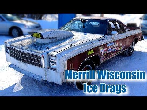 RoadKill Ice Drag Racing at Merrill Wisconsin:  Hot Rod Mike Finnegan and Tony Angelo
