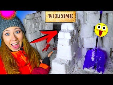 ВХОД в ДОМ ИЗ СНЕГА СТРОИМ ЧЕЛЛЕНДЖ КРУЧЕ ЧЕМ форт из снега | Elli Di